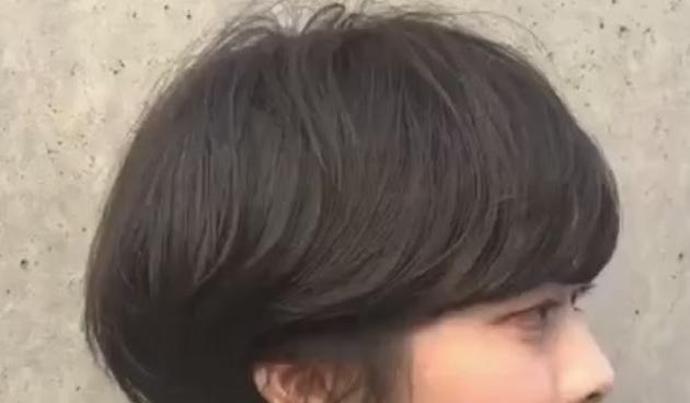 前下りボブ 前髪なし